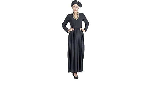 a2894e8ca East Essence Double Layer Pleated Black Georgette Abaya Evening Dress:  Amazon.co.uk: Clothing