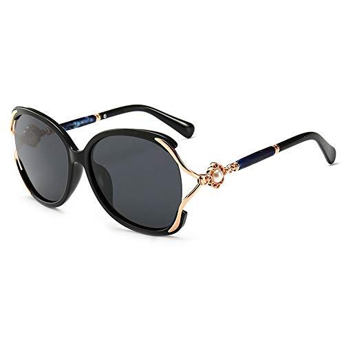 Retro Vintage Sonnenbrille, für Frauen und Männer Round Frame Pearl Sonnenbrille, Perfekte Sonnenbrille for den Sommer mit hoher Leistung. (Farbe : Black Frame/Black)