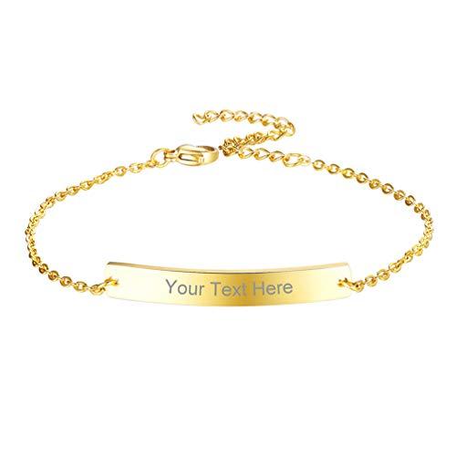 PROSTEEL Gourmete Femme Plaqué Or 21cm Chaîne Bracelet Ajustable Personnalisé Nom Prénom Date de Naissance Bijoux Cadeau Anniversaire Fêtes (Doré)