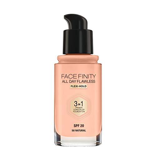 Max Factor Facefinity All Day Flawless 3 in 1 Foundation in Natural 50 - Primer, Concealer & Foundation in einem - Für ein perfekt mattiertes Finish - 1 x 30 ml -