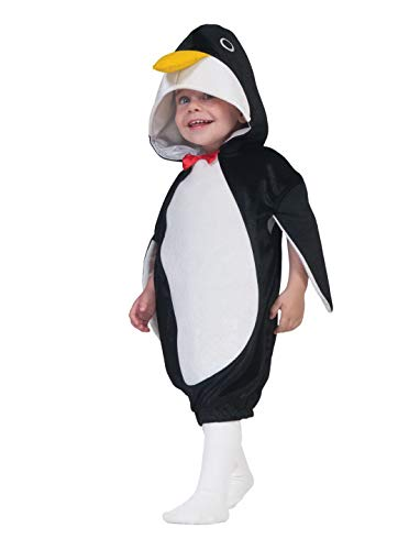 Luxuspiraten - Kinder Jungen Mädchen Kostüm Plüsch Pinguin Penguin Kleidchen Tunika, perfekt für Karneval, Fasching und Fastnacht, 98-110, Schwarz