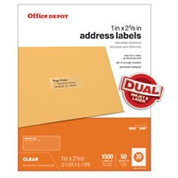 Office Depot(R) Brand Address Labels, 1in  x 2 5/8in , Clear, Pack Of 1,500  by Office Depot