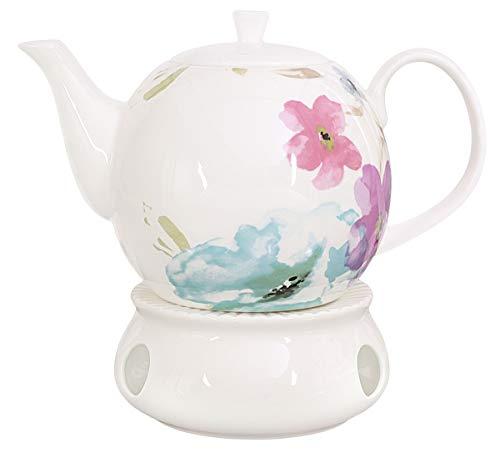 Buchensee Porzellan Kanne 1,5 Liter mit Stövchen. Elegantes Teeset/Kaffeeset aus Fine Bone China...