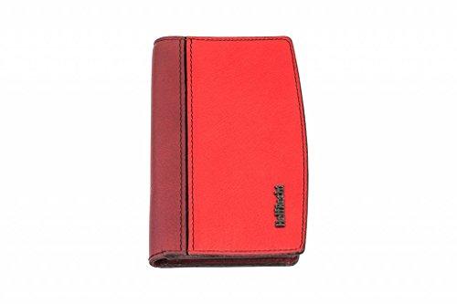 HelfRecht Smartphone-Tasche Premium Line Venezia aus Leder/Handy-Tasche/mit Kartenfach - rot -