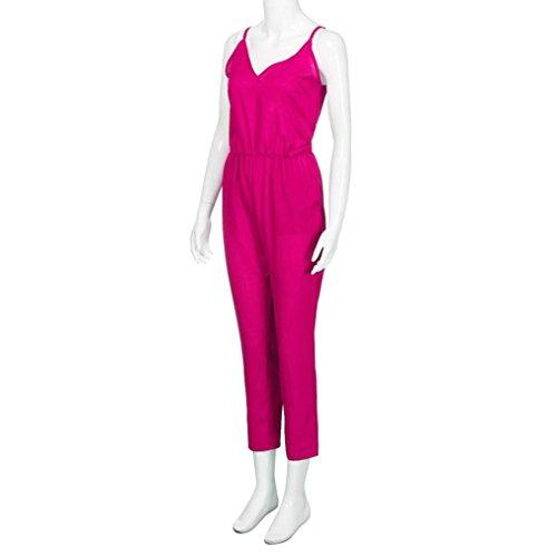 Transer Mode Femme Strappy V Cou Pocket Combi Bodycon Party Combi Rose vif