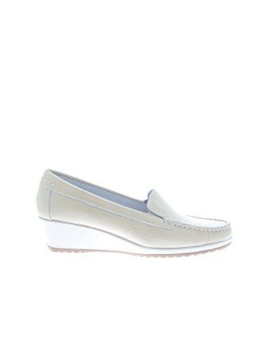 ENVAL 79334 mocassini scarpe decolletè donna beige vernice (38)