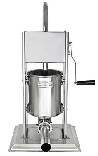 Edelstahl Wurstfüllmaschine (3 Liter Volumen), Wurstfüller mit 2 Gang Getriebe, Handkurbel und Entlüftungsventil, inkl. 4 Edelstahl Fülltüllen (16, 19, 25 und 38 mm Ø) -