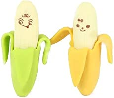 E-lant 2pcs Novelty Banana Style Pencil Eraser Rubber Stationery Kid Gift Toy