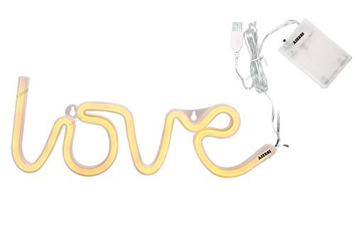 AIZESI Love LED Licht Deko Lampe Buchstaben Neon NeonLicht,Festzelt Batterie oder USB Tabelle LED Ligths WandDekoration für Mädchen Schlafzimmer,Wohnzimmer,Weihnachten,Party als Kinder Geschenk(Warm White LOVE)