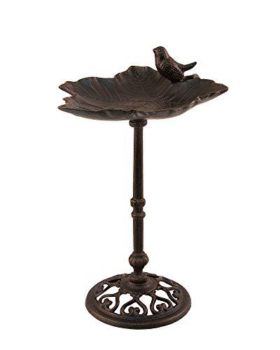 Vogeltränke Vogelbad Vogel auf Blatt Tränke Gusseisen mit sitzendem Spatz Wasserschale Gußeisen Höhe 38cm