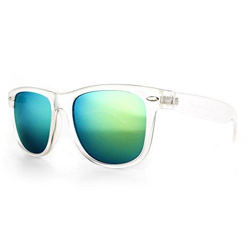 Distressed Blues Matt matte Sonnenbrille im Retro Wayfarer Stil 80er (durchsichtig-gold-verspiegelt)
