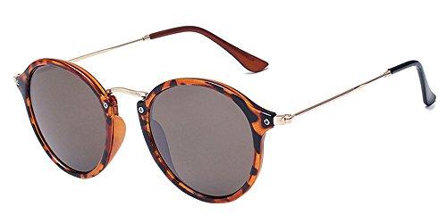 BOZEVON Retro runde Sonnenbrille Herren Damen Metall Eyewear Leopardmuster-Braun