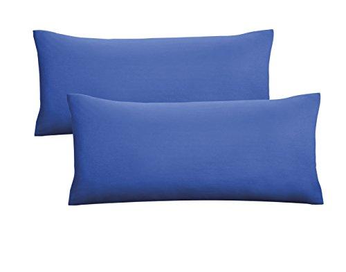 Biberna 0077144 Jersey-Kissenhüllen aus 100 % Baumwolle mit Reißverschluss, 2er-Pack, 40 x 80 cm Sapphire, 27 x 18 x 3 cm -