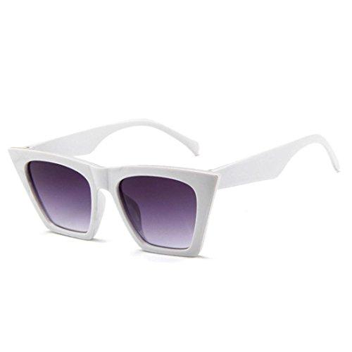 Amcool Mode Damen Übergroße Sonnenbrille Vintage Retro Cat Eye Sonnenbrille (Weiß)