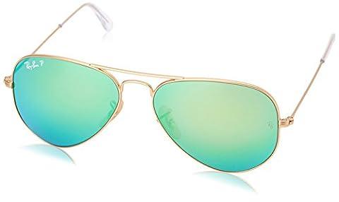 Ray-Ban RB3025 Aviator Sonnenbrille Polarisiert 55mm, Gold (112/P9), 55 mm (Gold Grün Sonnenbrille)