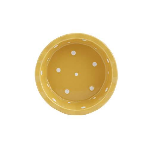 Bamboo Leaf Bowl (Pet Bowl Bamboo Shelf Einzelschüssel Table Slip Keramikschale Set Creative High Water Bowl (Farbe : Gelb, größe : No bracket))