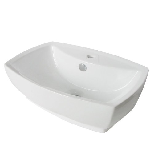 Kingston Brass Marquis White China Vessel Bathroom Sink with Overflow Hole & Faucet Hole China Marquis