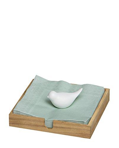 Räder Pet - Serviettenhalter - Serviettenkasten - Vogel - Akazienholz - Porzellan 18 x 18 x 2,5 cm