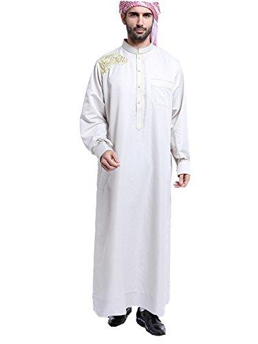 Dreamskull Muslim Abaya Dubai Muslimisch Islamisch Arab Arabisch Indien Türkisch Casual Kaftan Robe Kleid Kleidung Bestickt Dress Herren Männer ohne Kopftuch (XL, Weiß)