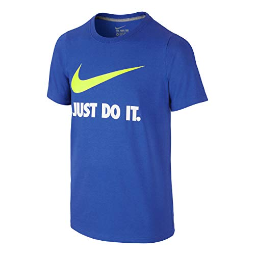 Nike Jungen Just Do It Swoosh Crew Boys T-Shirts, blau, XS
