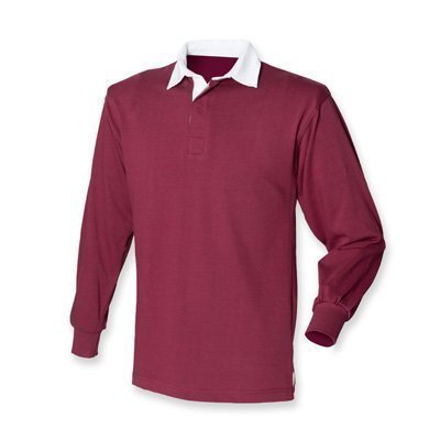 Front Row - Langarm Rugby Shirt - Weinrot, XL / 111.8-116.8cm -