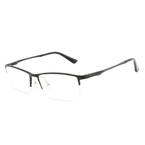 DING-GLASSES Gläser Anti-Blauer Halbrahmen Aluminium-Magnesium Ultraleichter, Flacher Spiegel Brillengestell Fashion Male (Color : Black)
