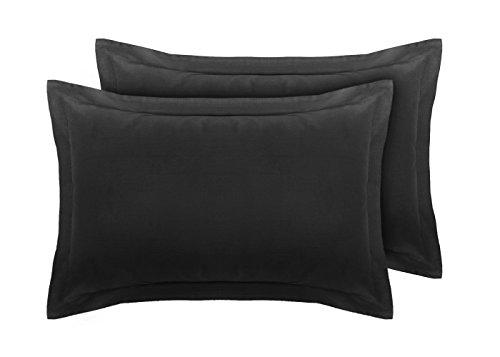 Coppia di federe oxford per guanciali in 100% percalle di cotone 180 fili black