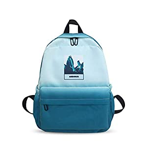 FANDARE Nuevo Mochila Color Gradual Mochilas Casual Bolsas Escolares Niña Niño Bolsa de Viaje Bolsos de Mujer Adolescente Backpack Outdoor Viaje Infantiles Daypack Impermeable Poliéster Azul Claro