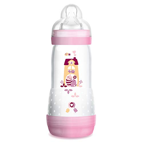 Colic Babyflasche (320 ml) - Babyflasche mit innovativem Bodenventil gegen Koliken - Baby Trinkflasche mit Sauger Größe 2, 4+ Monate, Katzen, rosa ()