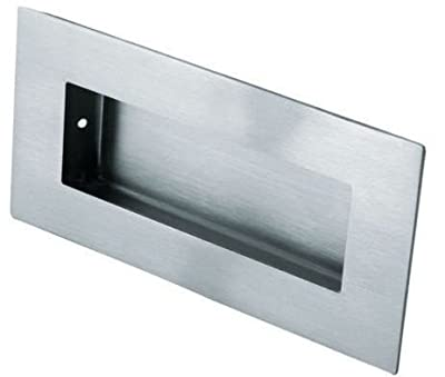 Rectangular Flush Recessed Sliding Door Pull Handle 100mm x 50mm - Satin Stainless Steel