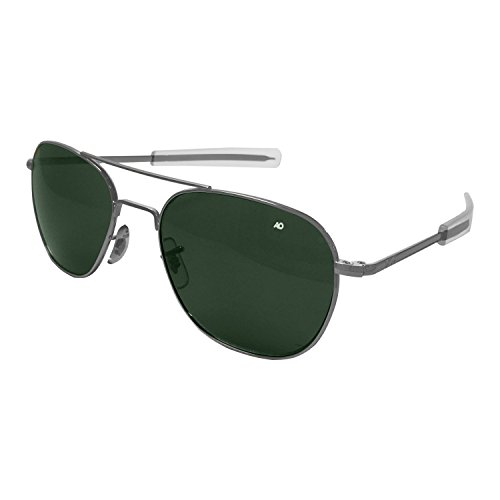 AO Eyewear American Optical Original Pilot 55mm matt chromfarben True Color Green Classic Mineral