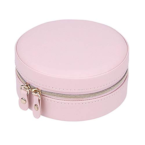 Marcia abbot(t) portable round jewelry box travel zipper pu leather jewellery packaging display organizer gift box earring storage carrying case,pink,11cmx5.2cm