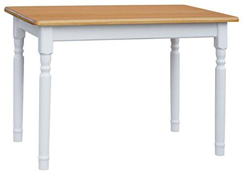 koma Esstisch 100x70cm Küchentisch Tisch MASSIV Kiefer Holz weiß - Alder Landhausstil
