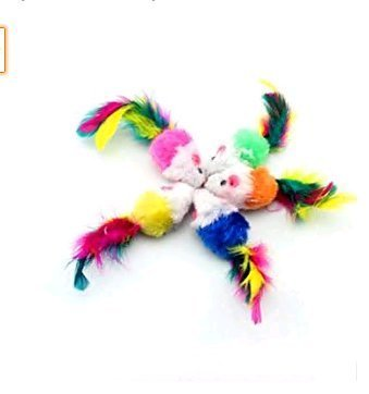 Lsv-8 Pack of 5 Furry Kitten Mice Cat Toys with Feathers and Fur