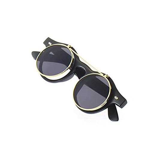 Klassische Steampunk Goth Brille Runde Flip Up Sonnenbrille Runde Brille - Mattschwarz