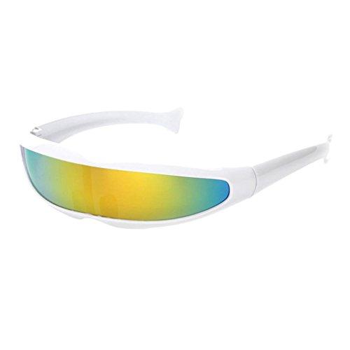 n Futuristische Partybrille Sonnenbrille Verspiegelte Alien - Weiß Gelb ()