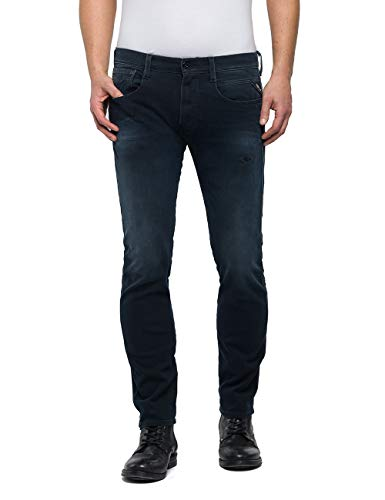 Replay Herren Anbass Slim Jeans, Blau (Dark Blue 7), W32/L34 (Herstellergröße: 32) Dark Blue Denim