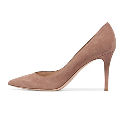 EDEFS Damen High Heels Klassische Pumps Geschlossene Spitze Zehen Übergröße Schuhe 8cm Absatz Mud