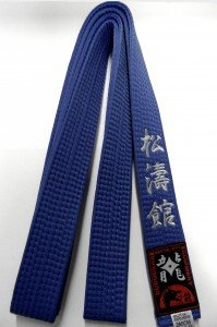 Blaugurt bestickt mit Shotokan (Bestickung in silber) Karategürtel blau bestickter Karatgurt