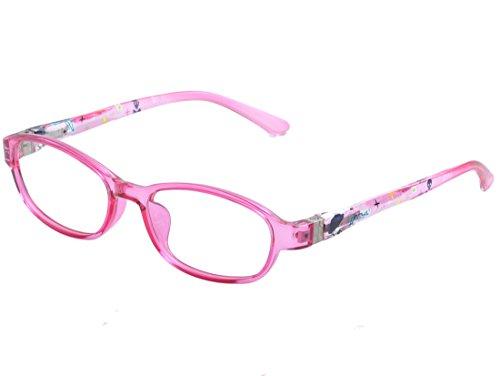 DEDING Kinder klare Linsen Brillenfassung mit Federscharnier (rosa)