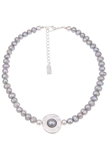 Leslii Damenkette Agate Perlen-Kette Collier Kurze Halskette Süßwasser-Zuchtperlen graue Modeschmuck-Kette 45cm in Grau
