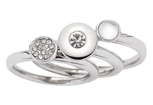 JEWELS BY LEONARDO Damen-Ring Alexia, Set aus 3 Ringen, Edelstahl mit Glassteinen, Perlmutt, Kristallen, Größe 17, 016513
