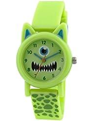 Tikkers Kinder-Armbanduhr Analog Quarz mit Grün Zifferblatt Analog-Anzeige und Grün Silikon Gurt tk0095