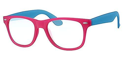 Clear Lens Wayfarer Retro Brille, Pink & Blau transparentem Strassstein Rahmen, mit gratis gelb Halskordel