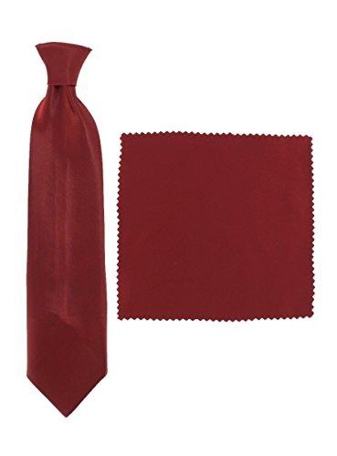 Cravate enfant élastique + pochette bébé, enfant ou ado, Bordeaux, S