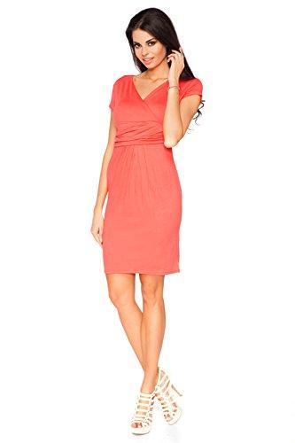 Futuro Fashion Femmes Élégante Soirée Enveloppant Mini Robe Col V Manches Courtes 8415 Tailles 8-18 UK Corail