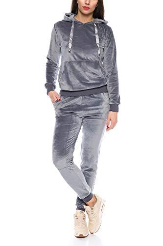 Crazy Age Damen Anzug Freizeit Sport Alltag   Samt Nicki Velvet   Kuschelig Sportlich Elegant   XS - XL (Grau, L)