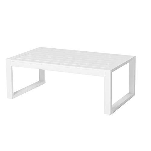 Tousmesmeubles Table Basse d'extérieur Aluminium Blanc - BELITUNG - L 92 x l 52 x H 32 - Neuf