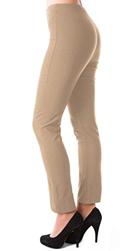 Damen High Waist Hose gerades Bein Business Stoffhose 491 Beige