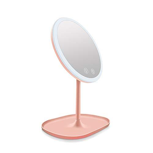 Kosmetikspiegel Beleuchteter Schminkspiegel Wiederaufladbare Touch Control Einstellbare LED-Leuchte Kosmetikspiegel mit 10facher Vergrößerung Spiegelrotation Tischkosmetikspiegel Kosmetikspiegel mit T